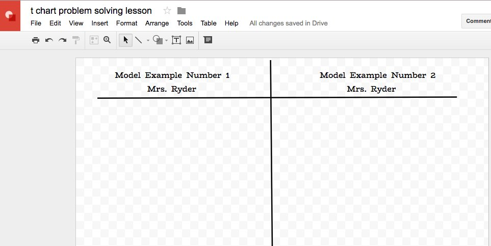 Using Google Drawing to make a quick t-chart for a lesson. Love how easy it is to design my own organizers with this tool. #dg58learns https://t.co/423QcJ4FO4