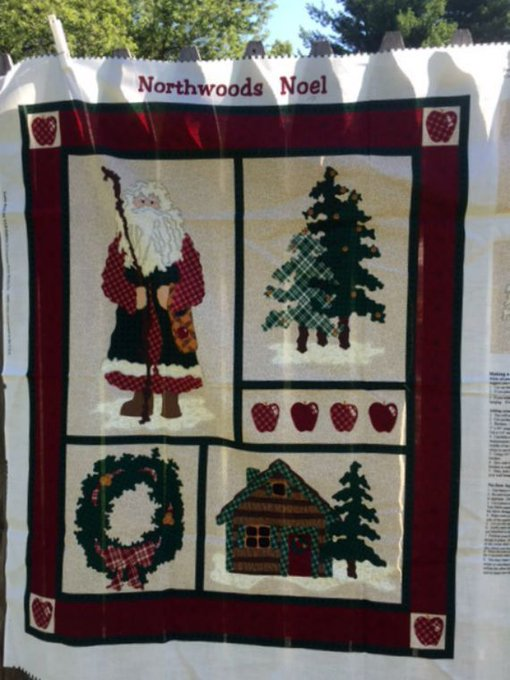 Christmas Fabric Panel Northwoods Noel Wall Hanging Material Destash Sewing Supplies New
