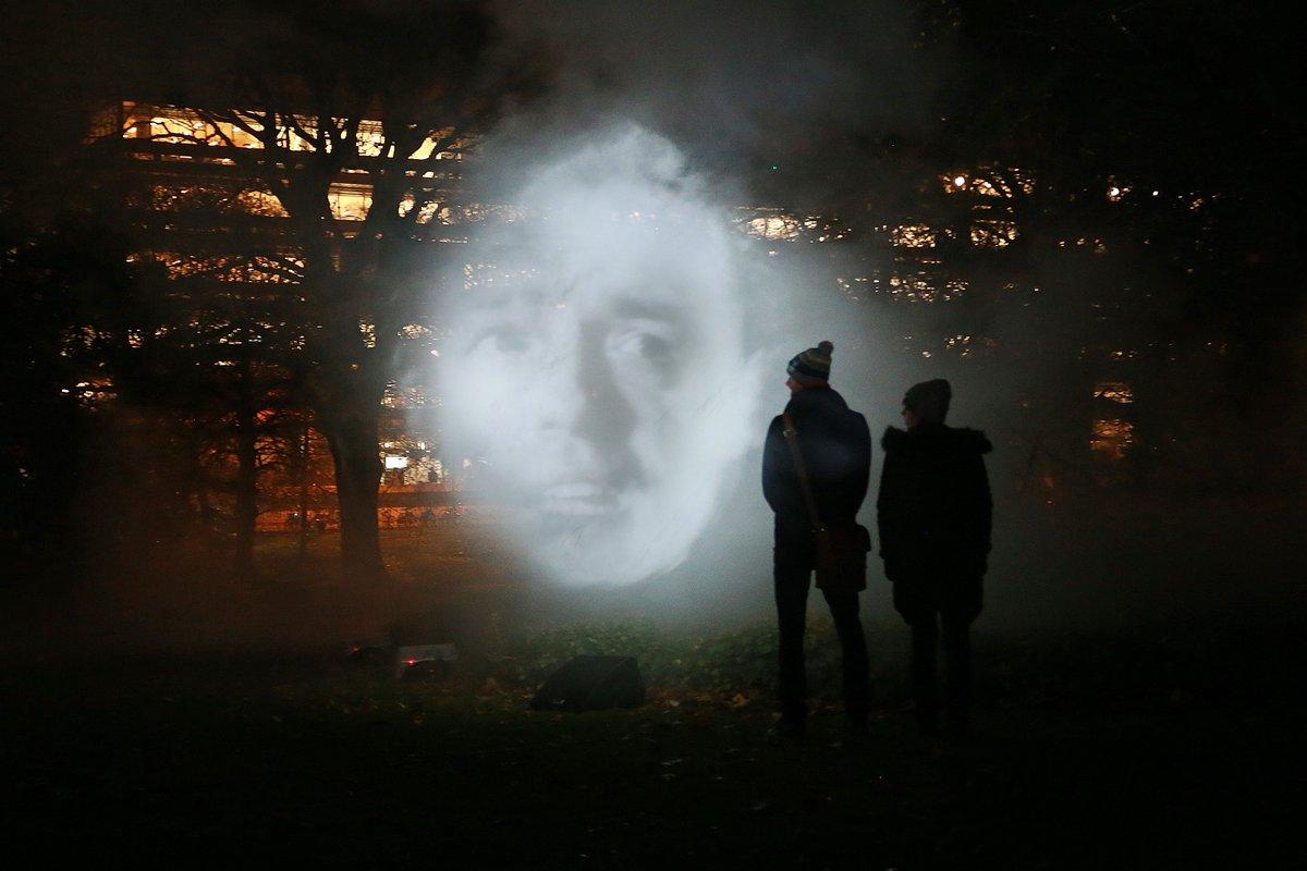 Tony Oursler 'The Influence Machine' Till Sat 7-9pm George Square Gardens #talbotrice @eca_edinburgh @EdinburghUni #tonyoursler <br>http://pic.twitter.com/649VFEhrK5