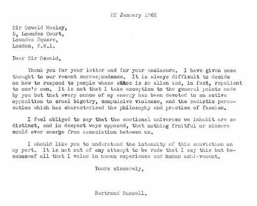 Fascist Oswald Mosley was born 120yrs ago today. Here's Bertrand Russell telling him to shove it - a letter I've thought about a lot lately.