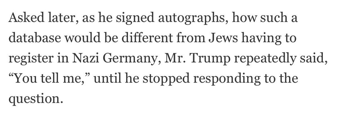 trump on how the muslim registry would be different from the jewish registry in Nazi Germany (@nytimes) https://t.co/1XQxtKZSoY