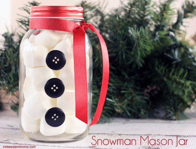 Snowman Mason Jar Craft DIY crafts