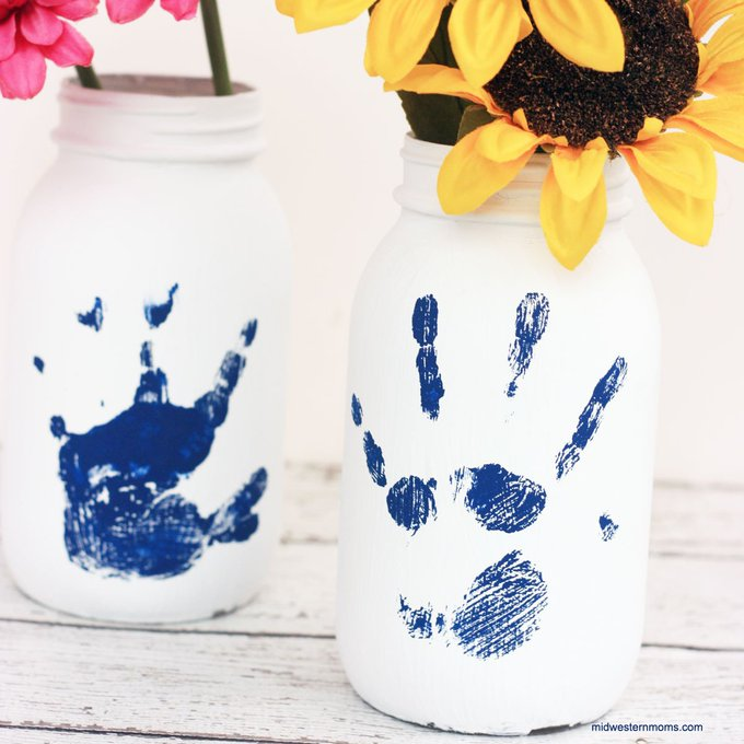 Handprint Mason Jar Craft kids DIY crafts