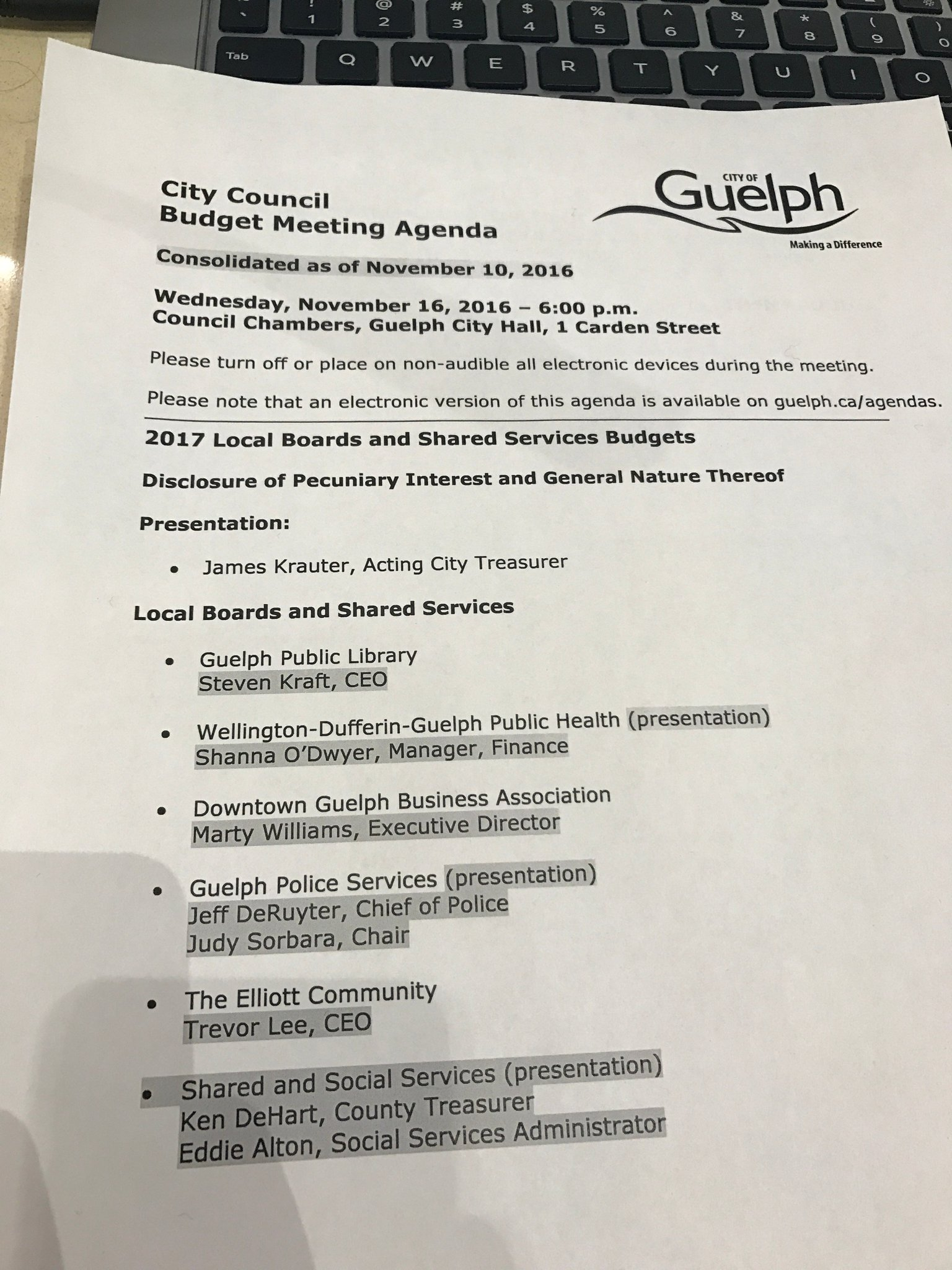 Bradley Breedon here covering #GuelphBudget. We're about to get started, here's a preview of the agenda for tonight. https://t.co/fu6d0QtVHR