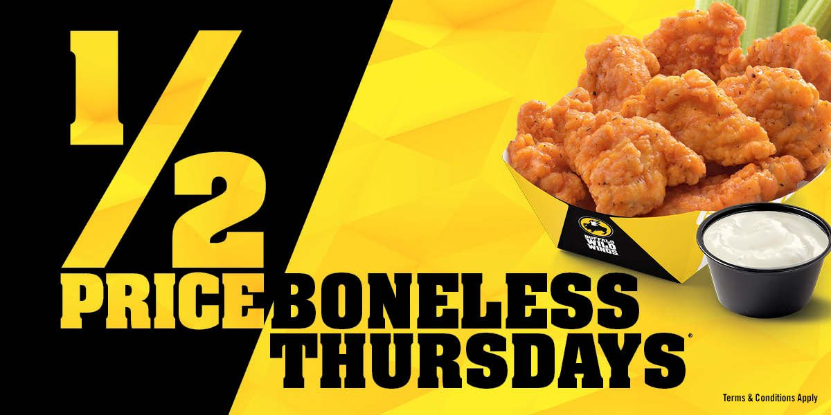 "Sep 03,  · BWW offers a $ cents per wing (bone in) Tuesdays and a $ per ""wing"" boneless Thursday. I prefer this format almost to 1 because of the simple fact that I can try as much or as little as I want and not have the heavy burden of a fixed dollar figure hanging over my head like that student loan payment you have to make every month for the next thirty years of your life."