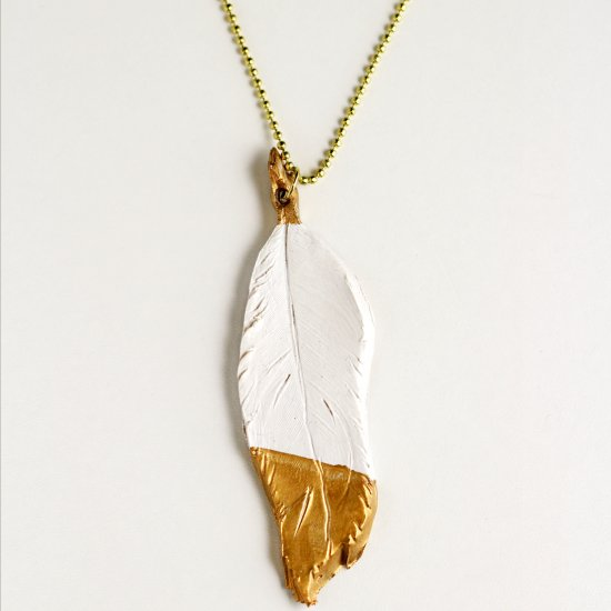 DIY Gilded Feather Pendant