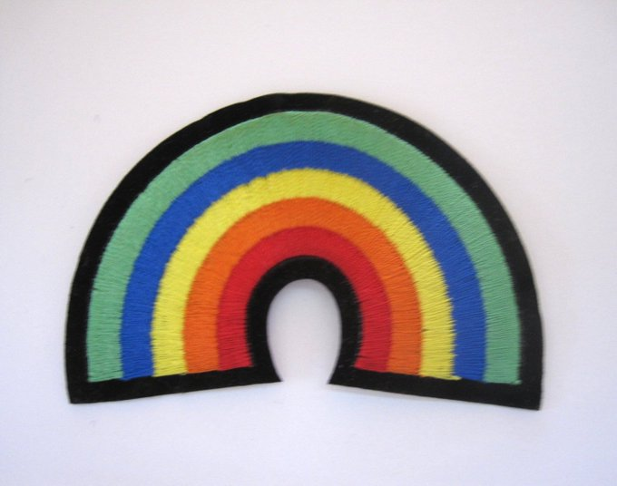 Rainbow Embroidery iron-On Patch, Iron-On Applique, New Old Sto crafts EmbroideryApplique