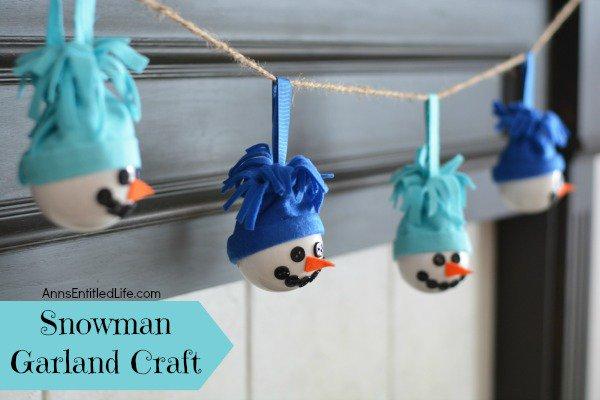 Snowman Garland Craft decor diy kids howto