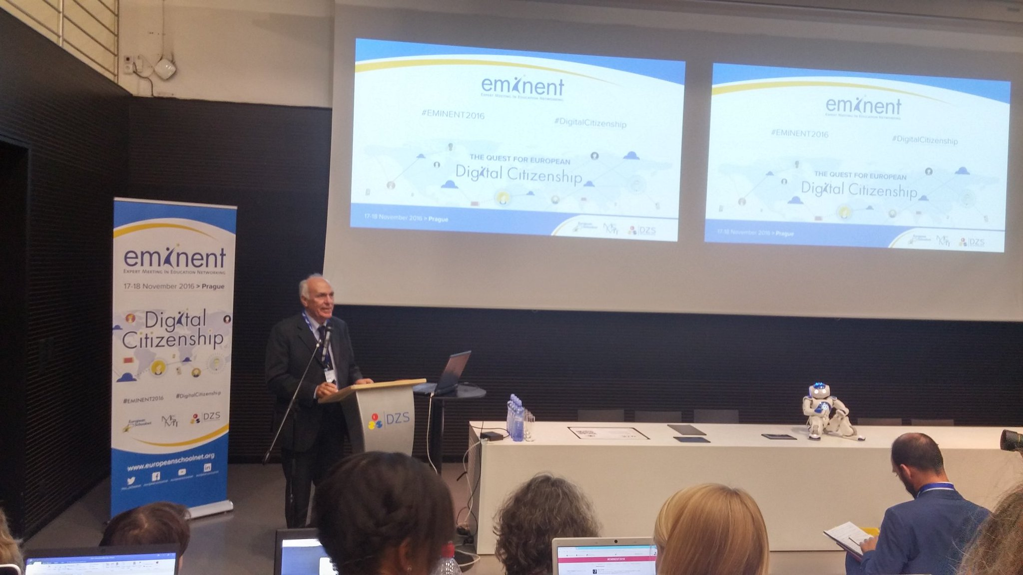 Giovanni Biondi @eu_schoolnet chairman opening speech on the importance of #DigitalCitizenship at #EMINENT2016 Romeo the robot on his left https://t.co/FH0I1F4qHc