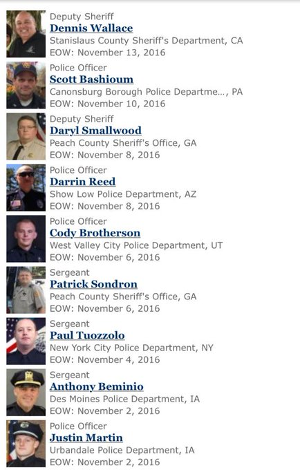In the last 11 days, 9 police officers killed. ALL killed by white men All but 1 killers were taken in