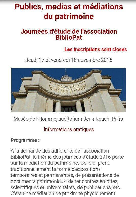 Pour rappel, le programme des journées @BiblioPat_fr #BiblioPat16 est ici https://t.co/BA9iAqLjZX https://t.co/JEB0D0NRpv