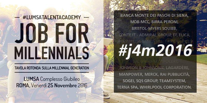 #j4m2016 si avvicina! Vieni alla @UniLUMSA a scoprire le opportunità di #lavoro al #CareerDay Job for Millennials! https://t.co/q2vZ0aySYx https://t.co/9RE2Ju6m4T