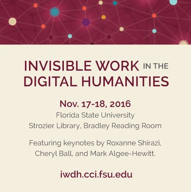 Follow along today with our symposium on Invisible Work in the Digital Humanities and join the conversation at #iwdhfsu! https://t.co/dRInBRdkZh