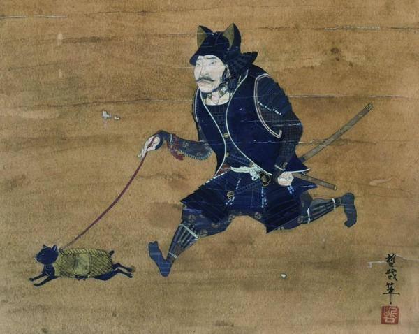侍がネコ散歩させてる絵めっちゃ好き