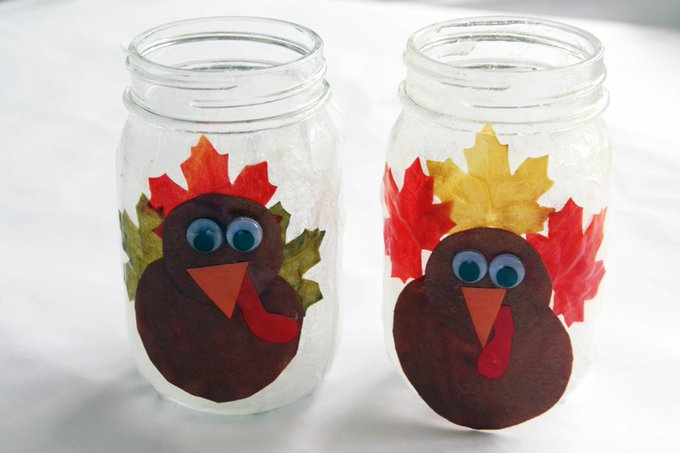 Festive fall leaves transform into Thanksgiving decorationscraft diy kidscrafts decor