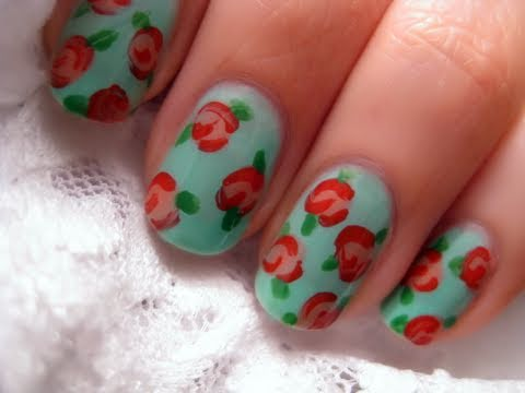 Floral Vintage Rose Nail Art CutePolish Beauty Nails -