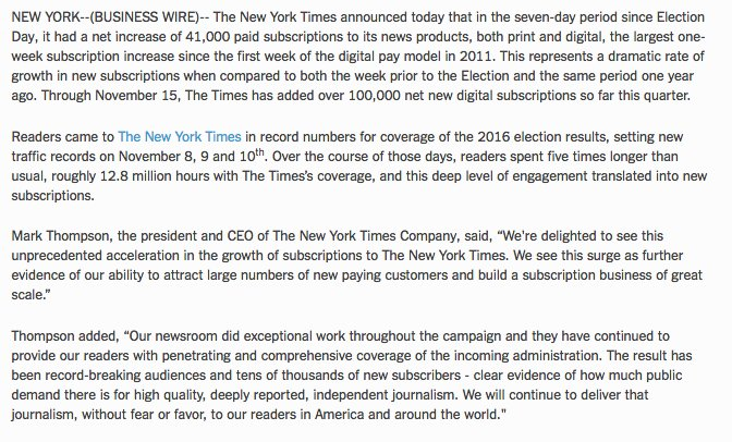 The @nytimes Adds 41,000 New Subscriptions Since Election Day https://t.co/dIjSvZXoow https://t.co/JeeVedetrW
