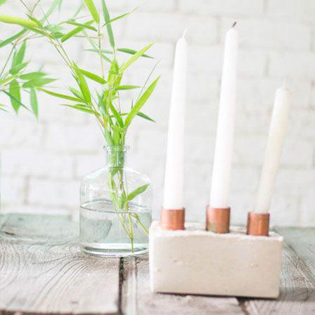 Te atreves a hacer este candelero de yeso y cobre? Te decimos cmo. Ideas DIY.
