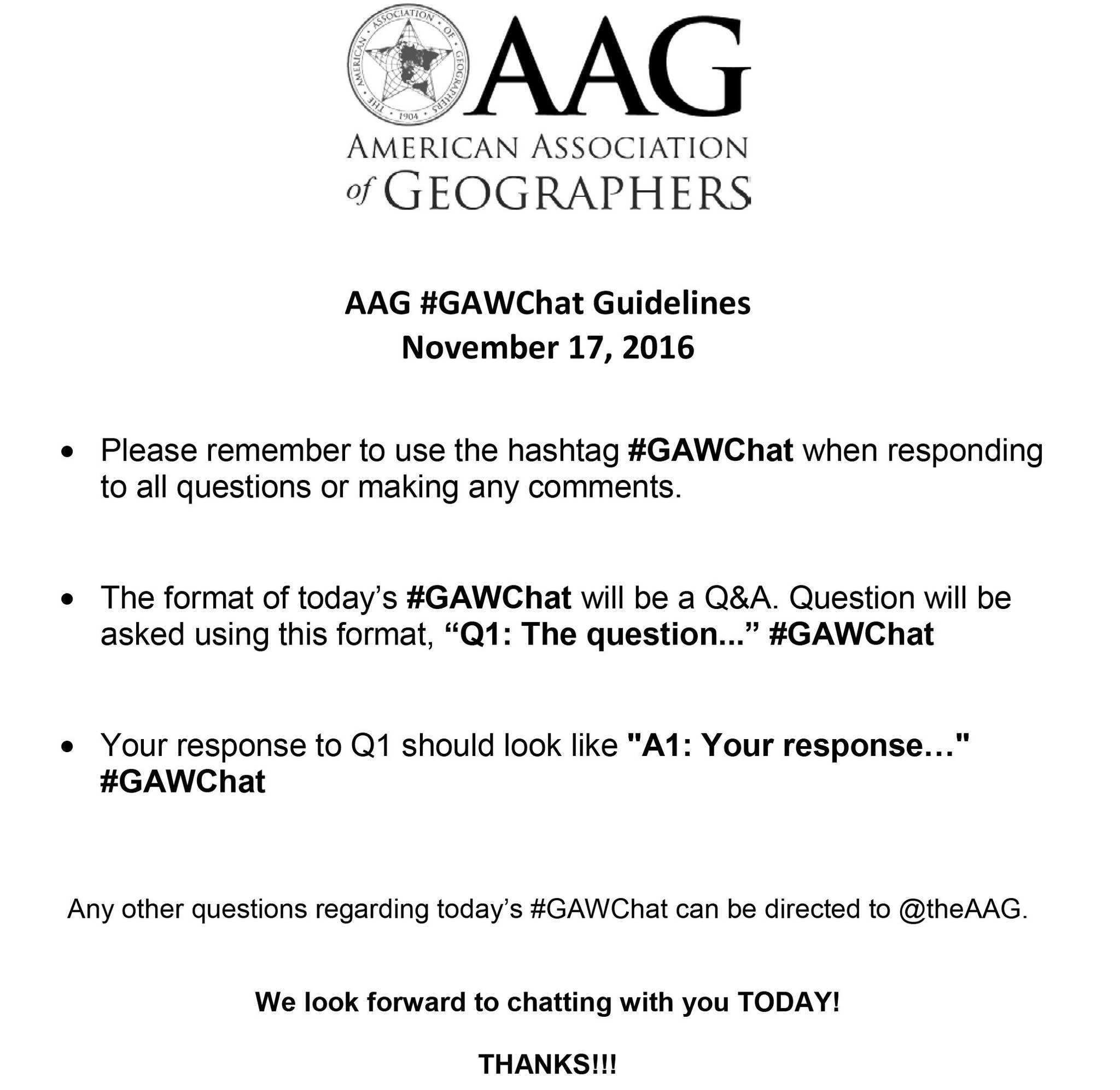 Make sure to set your clocks for today's #GAWChat at 3pm EST! Are you excited to talk about GEOGRAPHY? We are! #GeoWeek https://t.co/C2OFRyDpnY