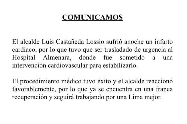 #COMUNICAMOS: sobre estado de salud del alcalde. https://t.co/efjZQEEBcY