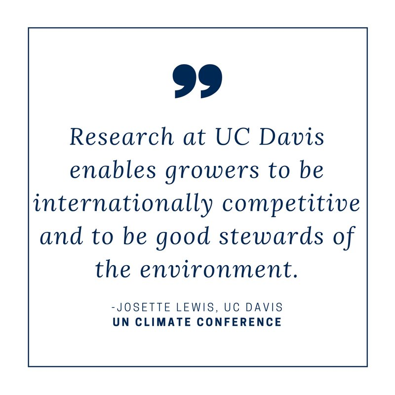 California produces 400 diff commodities & 80% of world's almonds, due to mediterranean climate & to @ucdavis research & tech -Lewis #COP22 https://t.co/Wjfs9eua89
