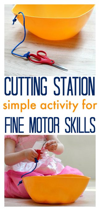Fine Motor Skills - DIY Cutting Station kids activities parents