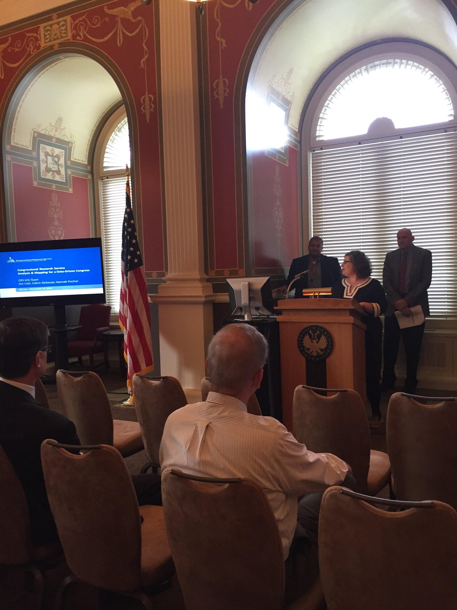 A5: We hosted a #GISday event here at the @librarycongress featuring presentations from students and Congressional staff using GIS! #GAWChat https://t.co/q9As5fxYz1