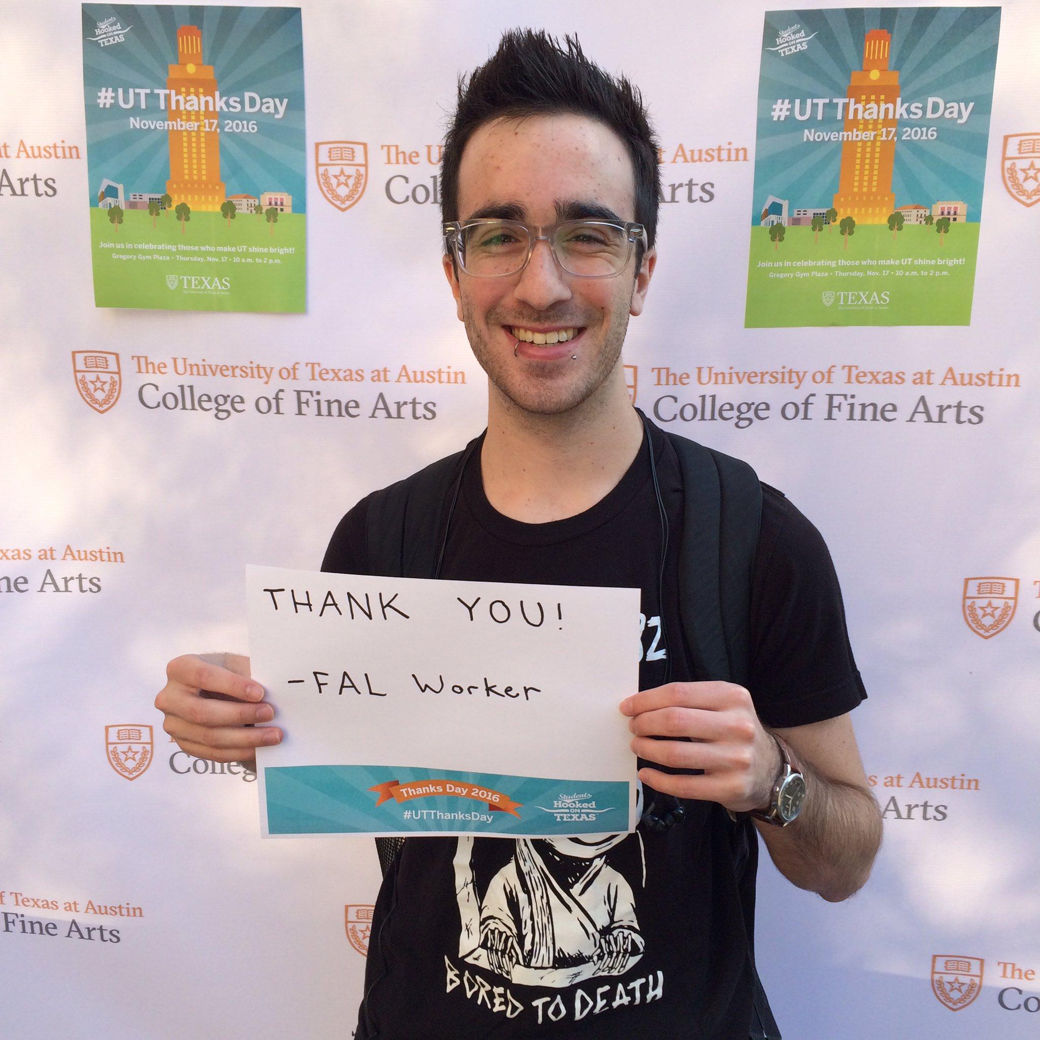 .@UTFAL worker and @UTexasMcCombs student Matthew Walker says thank you! #UTThanksDay #utfinearts https://t.co/Fvdzu1cWqe