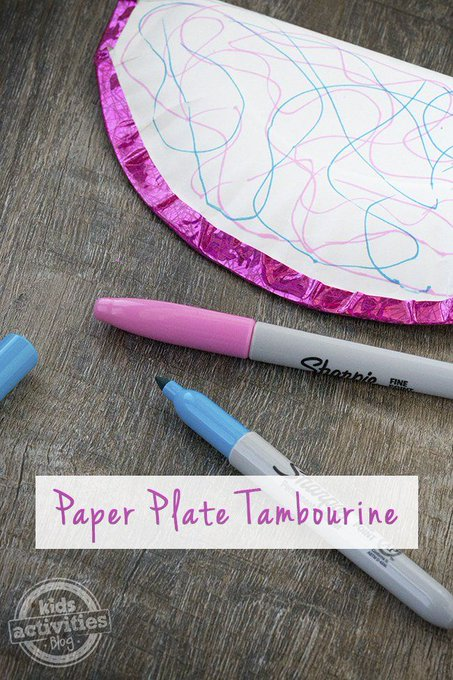 Paper Plate Tambourine arts crafts toddler nyc