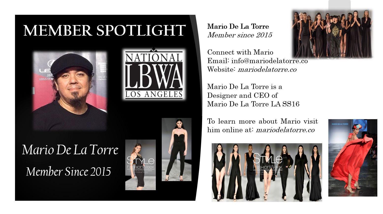 Nlbwa Los Angeles On Twitter Member Spotlight Designer Mario De La Torre Visit Mario Online Https T Co Hrljx3w6zh Memberspotlight Nlbwala