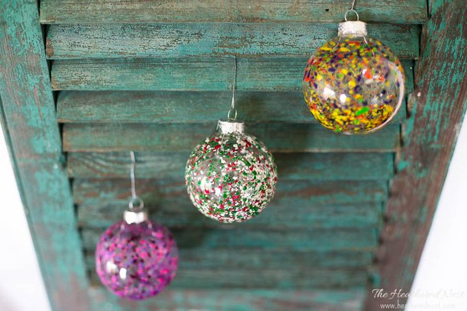 Melted Crayon Art DIY Christmas Ornaments -