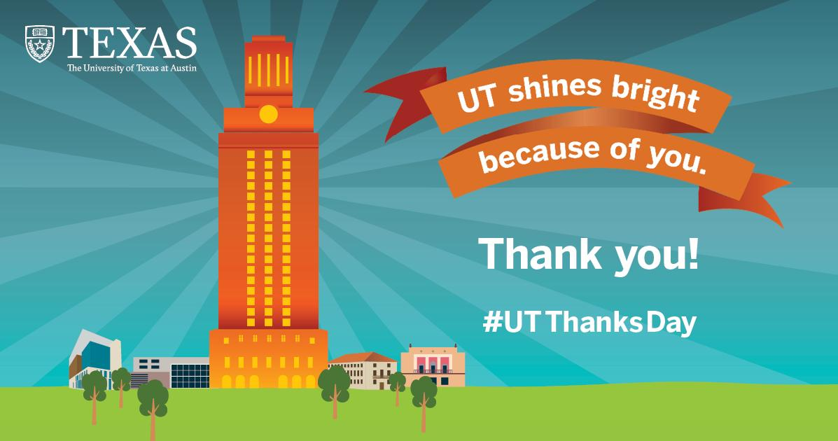 Thank you to more than 90,000 alumni & friends who made a gift to #UTAustin last year! #UTThanksDay #entry - https://t.co/2U6EOcqNeo https://t.co/LPfK5DQB2X