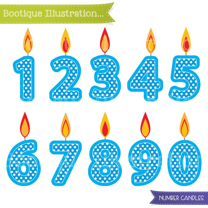 Blue Number Candles Clipart. Boys Birthday Clipart. Blue Candles Clip crafts scrapbooking