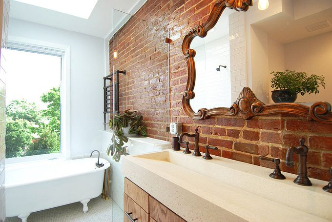 25 Bathrooms with Brick Walls homedecor home diy bathroom