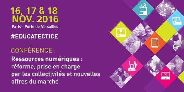 #RessourcesNumériques : réforme, prise en charge par les collectivités et nouvelles offres du marché, à 9h30 en Salle 1 à #educatectice https://t.co/MRuCjUrQii