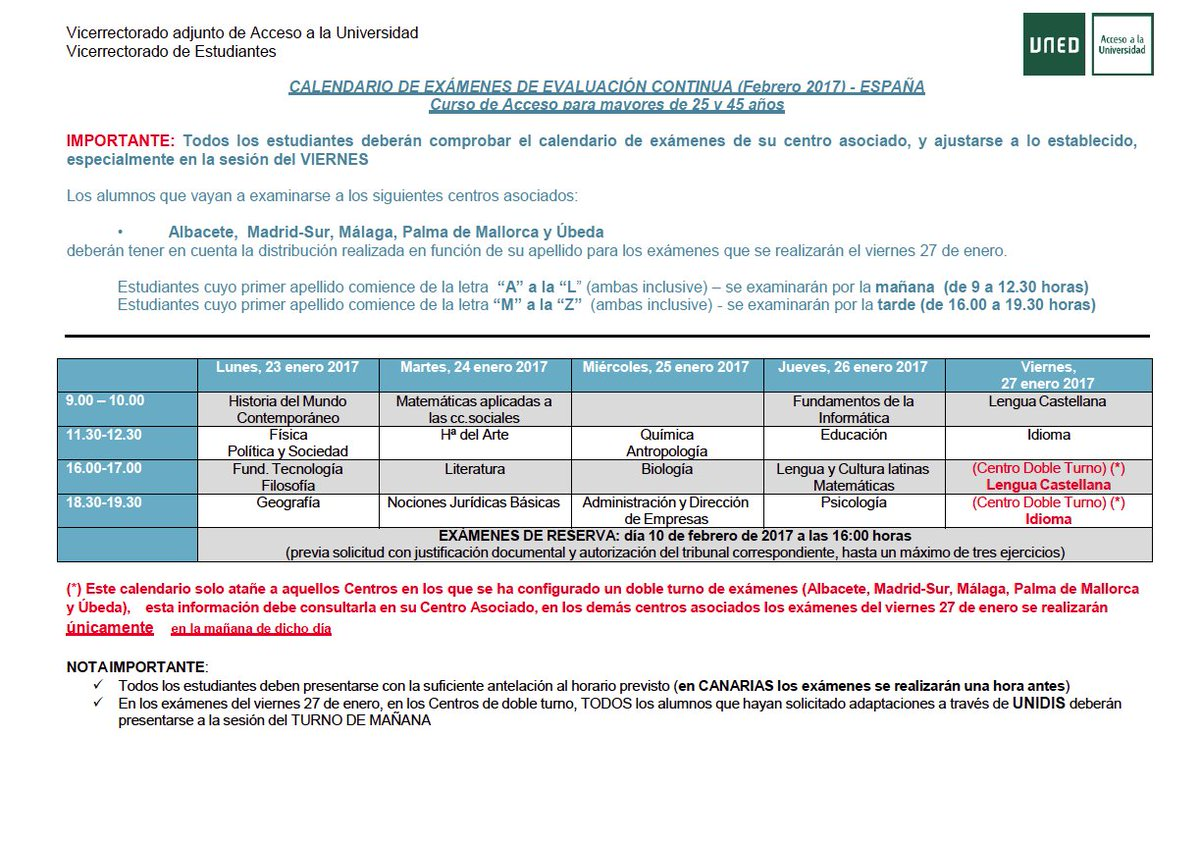 Uned Calendario Examenes.Uned Tudela On Twitter Atencionestudiante Del