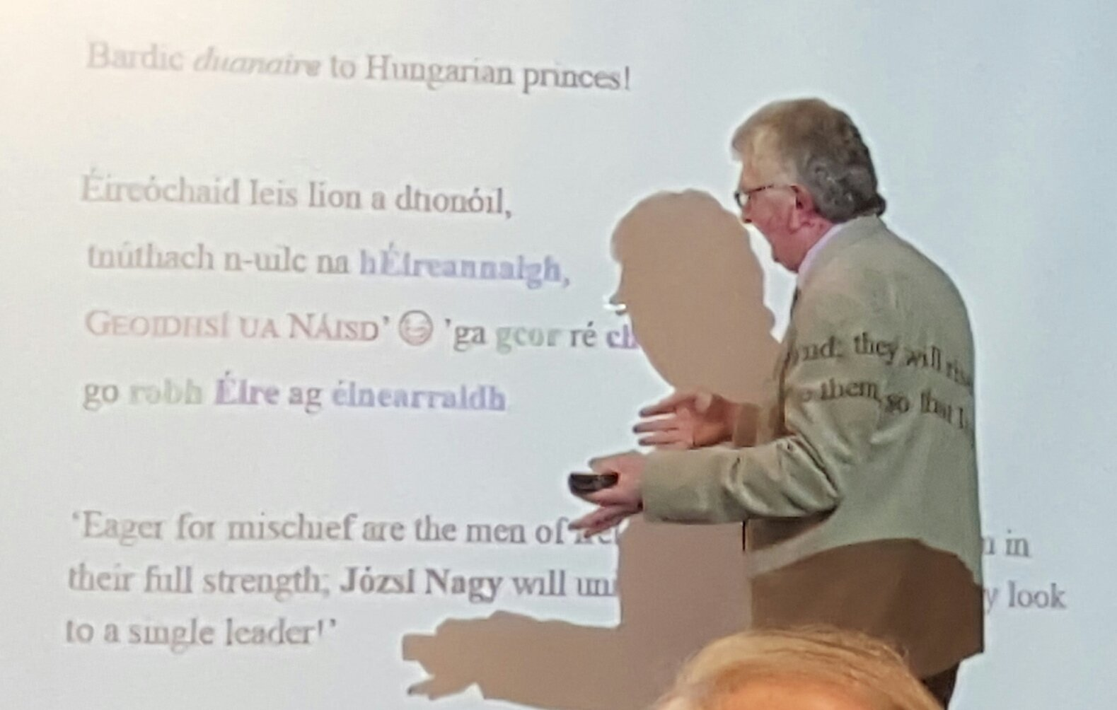 #SCSTionol2016 Damian McManus finds a bardic poem on the Hungarian nobleman Józsi Nagy (Harvard), the name standing in urlann (butt of line) https://t.co/90nVzk499z