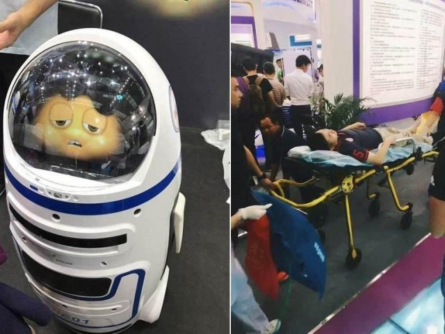 Fatty the robot smashes glass, injures visitor