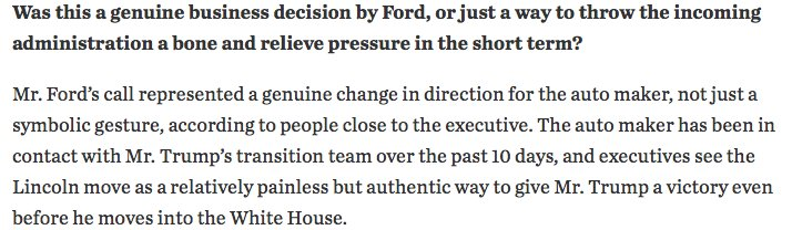 Excellent WSJ story on the Trump-Ford dust up. In short, Ford did shift its plans thanks to Trump. https://t.co/z9hlvkADvv