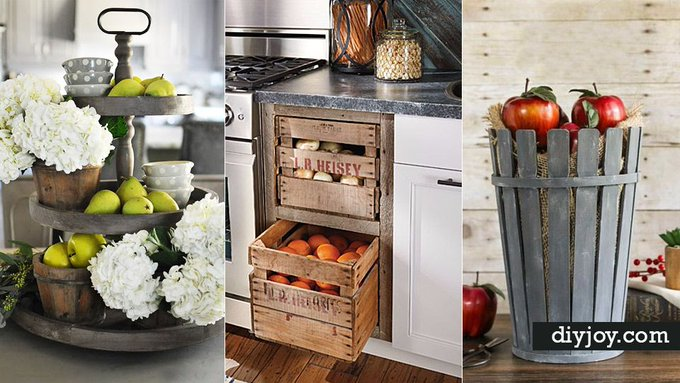 31 DIY Farmhouse Decor Ideas For Your Kitchen via DIYjoyCRAFTS interiordesign crafts -