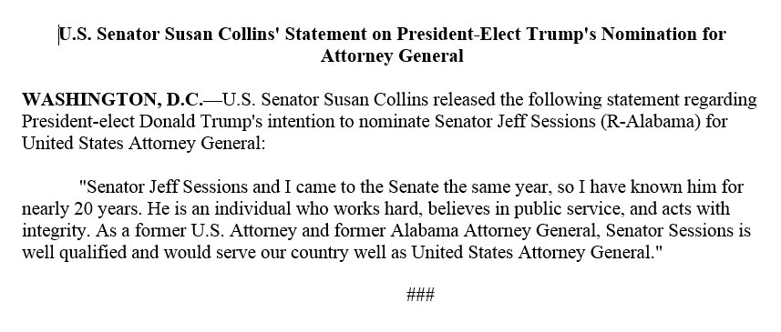 Senator Collins' Statement on President-Elect Trump's Nomination for Attorney General: https://t.co/PBdZQ4IBQB https://t.co/WHvwLQSC7d