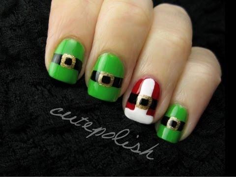 Santa and Elf Suit Nail Art CutePolish Beauty Nails -