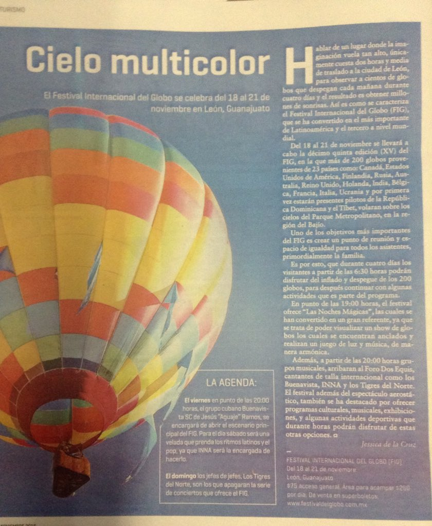 Les comparto mi colaboración para @Ocioenlinea de @MilenioJalisco @FIGLeon @prensaglobos  #CieloMulticolor