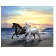 DIY Mosaic by numbers craft kit of Horses running on the beach. horse crafting