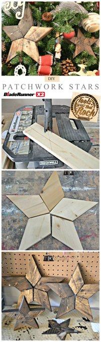 DIY Patchwork Stars - woodworking diy handmade crafts
