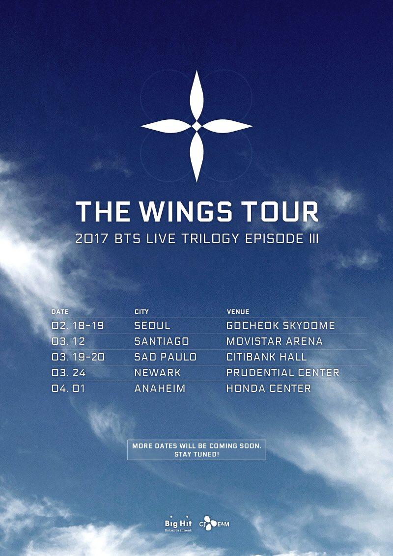 2017 BTS LIVE TRILOGY EPISODE III THE WINGS TOUR 일정 안내  #방탄소년단 #BTS #THEWINGSTOUR https://t.co/hOjEy3KoPT