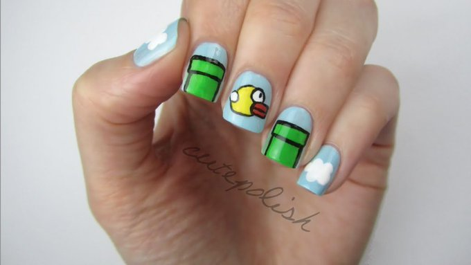 FLAPPY BIRD NAILS!!! CutePolish Beauty Nails -