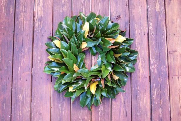 How to Make a Beautiful, Fresh Magnolia Wreath via DIYNetwork DIY crafts -