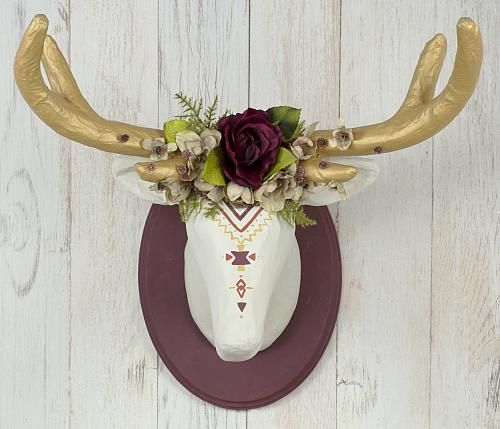 Fall Tribal Deer Head Using Chalk Finish Medium decoartprojects DIY tutorial