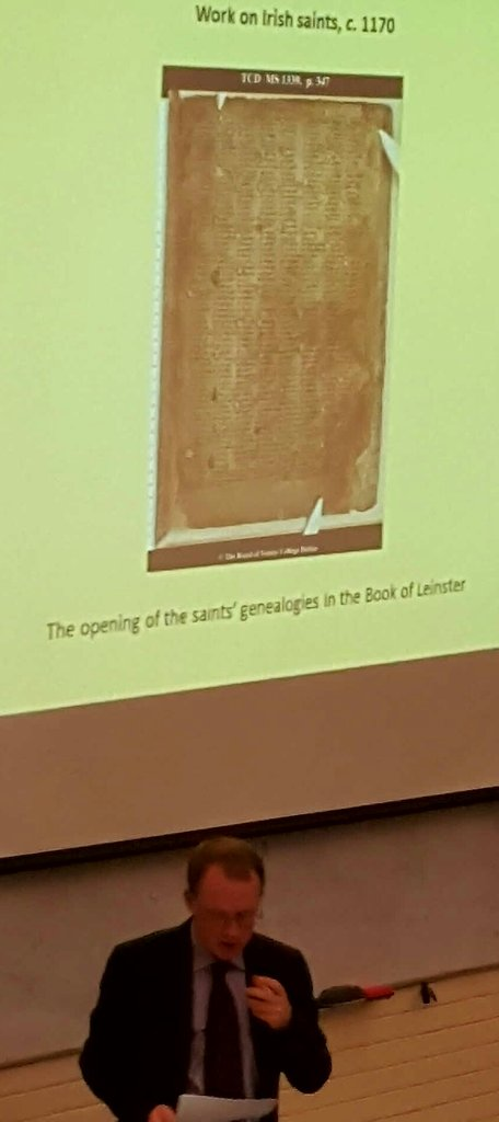 #SCSTionol2016 Statutory lecture: Barry Lewis (@DIAS_Dublin): hagiographical intrest in saints in Ireland already B4 Norman conquest https://t.co/Wir192tWRd